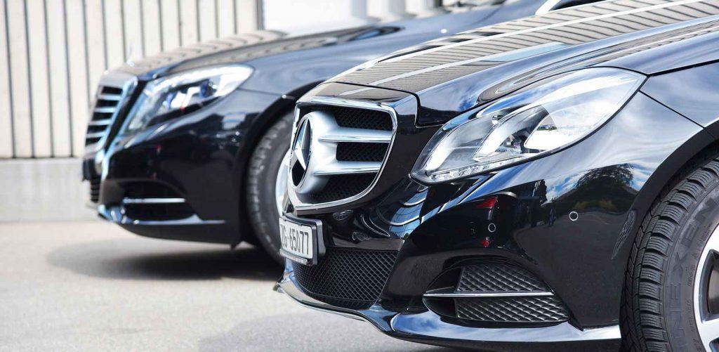 two limousine service mercedes cars