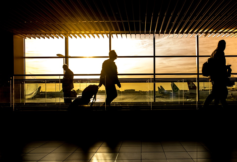business traveler at the airport
