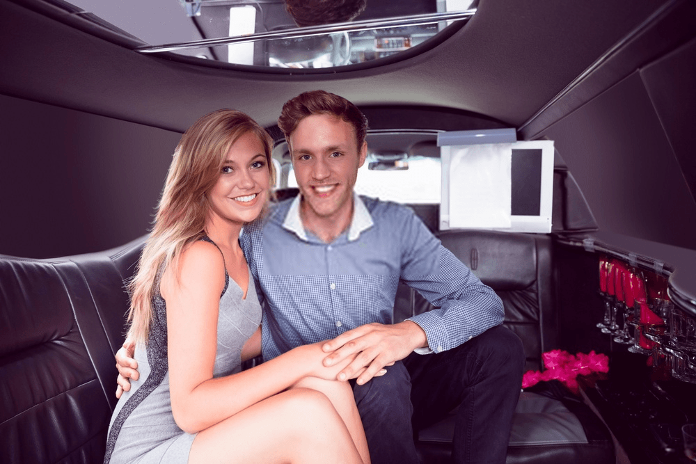 couple in a valentine's day limousine