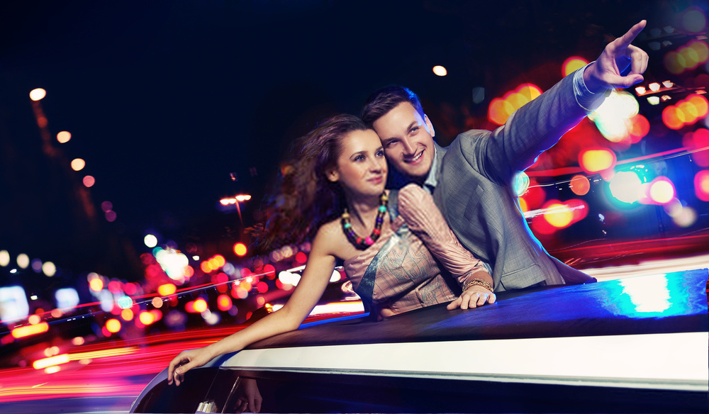 couple on a valentine's day limousine