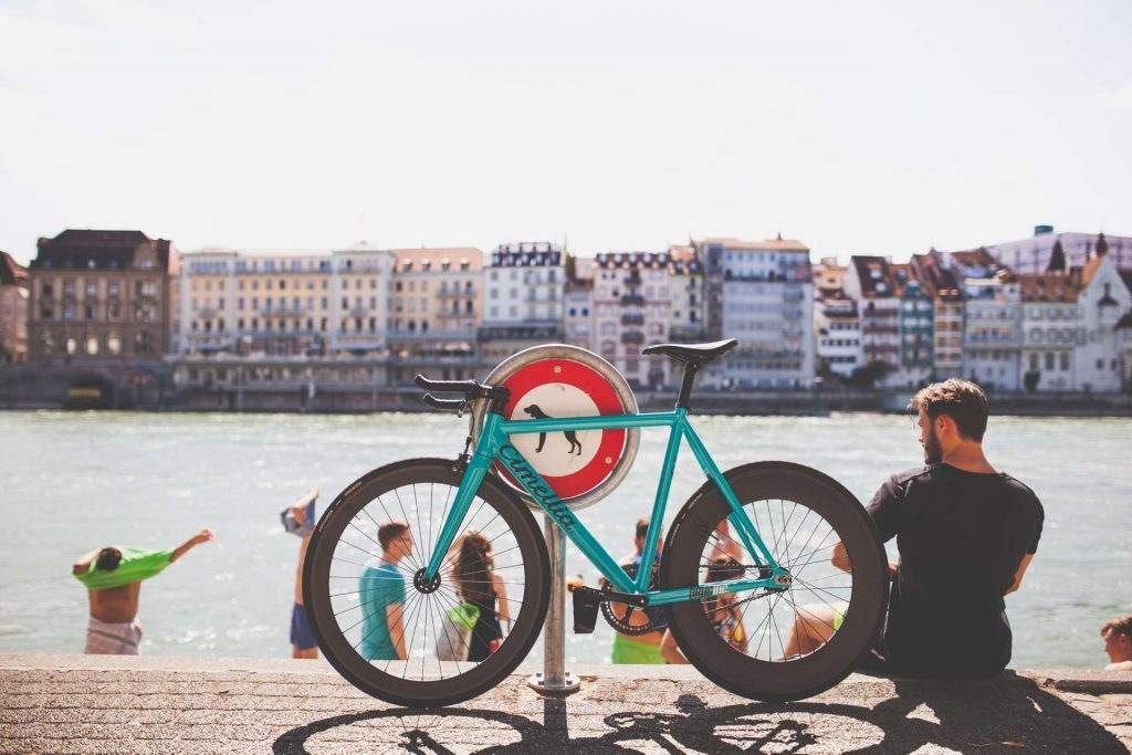 Basel - Switzerland - man and a bike - river
