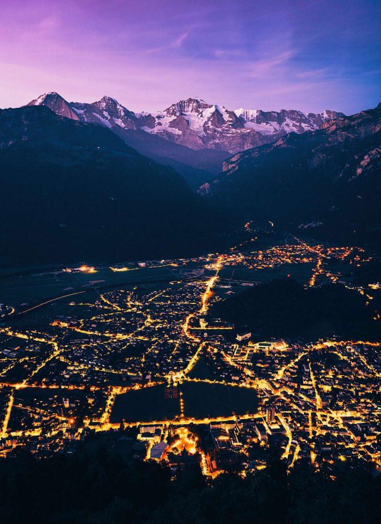 limousine service in switzerland will take you to interlaken - nightlights in interlaken - alpine peaks