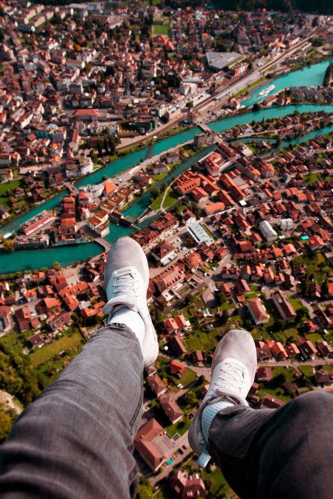 interlaken switzerland - bird's eye view of interlaken - paragliding