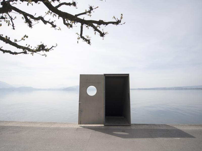 Roman Singer sculpture - door in the lake zug - lake zug sculpture