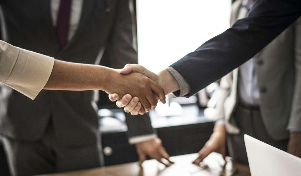 handshake - woman and man handshake - business deal