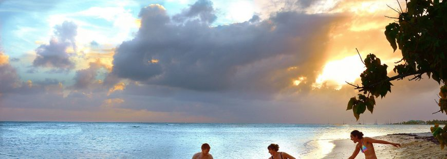 family - happy - beach - sunset