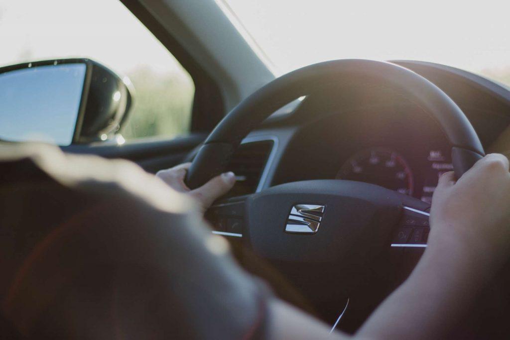 steering wheel - hands on a steering wheel