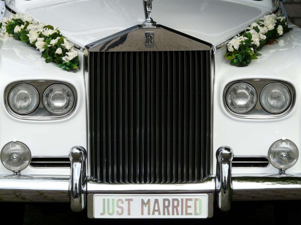 just married - limousine - white limousine - limo car service for wedding